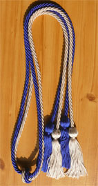 Royal Blue and Silver Double Tied honor cord