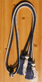 Silver and Navy Blue Double Tied honor cord