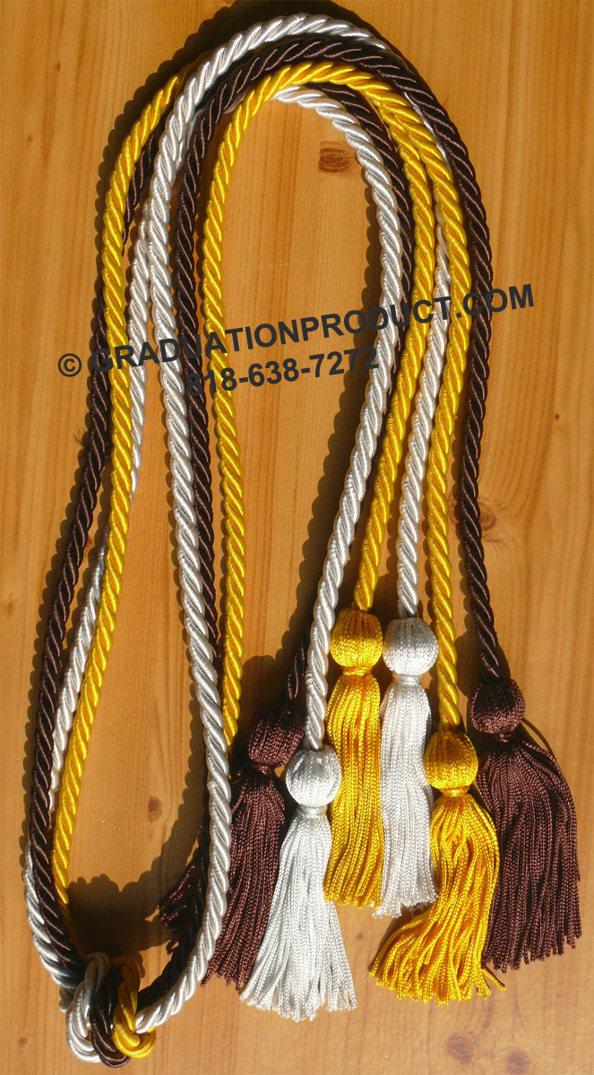 Brown Light Blue and Gold Triple Honor Cords