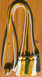 Gold Forest Green and White Triple Honor Cord