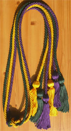 Gold Green and Purple Triple Honor Cord
