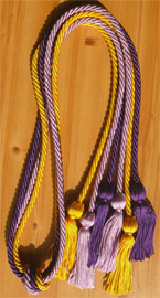 Gold Purple and Lilac Triple Honor Cord