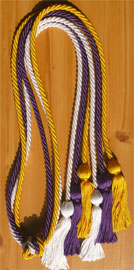 Gold White and Purple Triple Honor Cord