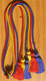 Red Royal Blue and Gold Triple Honor Cord