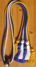 Royal Blue White and Gold Triple Honor Cord