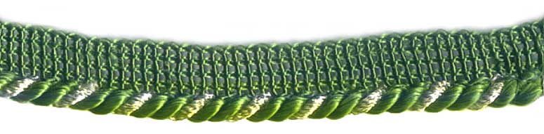 Green and  Metallic silver Cord with Lip