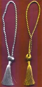 "Metallic Gold & Silver Bookmark tassels with 2.5"" Tassel and 4"" long loop. Can be made in you required size and color"