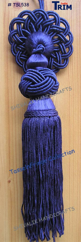 Navy Blue and Gold Turk Knot Tassel