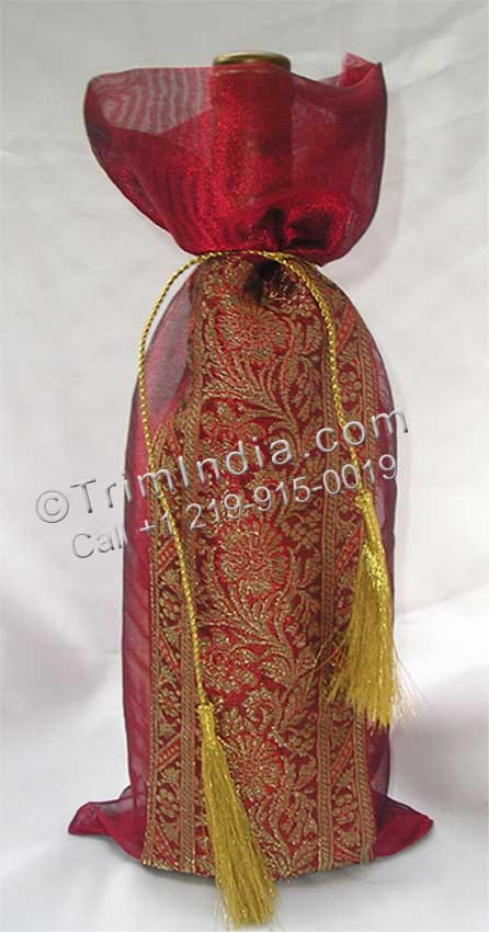 Tissue Wine Bottle Cover with Sari Border and Golden cord