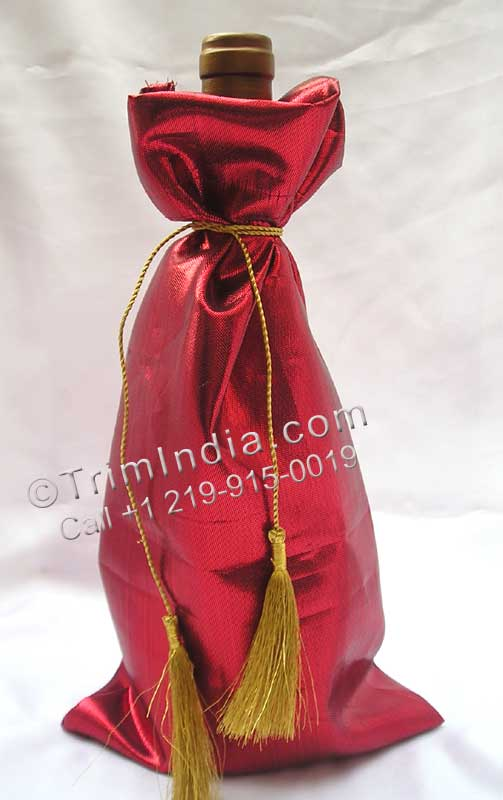 Tissue Wine Bottle Bag with Golden cord